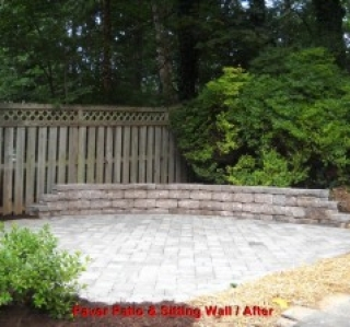 Paver Patio & Sitting Wall / After